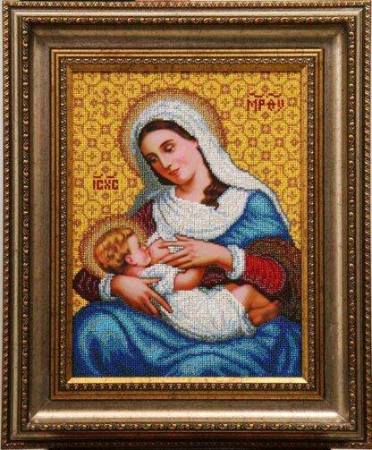 Канва для вишивання бісером на релігійну тематику - Богородиця Годувальниця (мала)