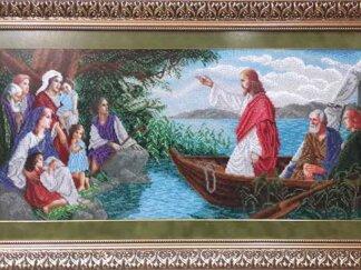 Канва для вишивання бісером на релігійну тематику - Малюнок нанесений на щільну тканину німецького виробництва, лики не вишиваються. Розмір 67*32 см