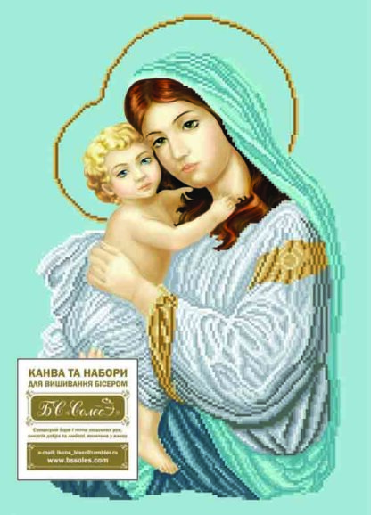 Канва для вишивання бісером на релігійну тематику - Мадонна з дитям (благодать)
