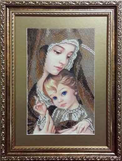 Канва для вишивання бісером на релігійну тематику - Мадонна з дитям (сепія)