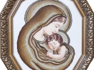 Канва для вишивання бісером на релігійну тематику - Марія з Ісусом (золото)