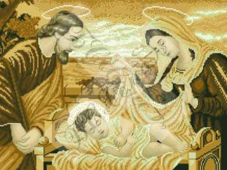 Канва для вишивання бісером на релігійну тематику - Свята родина (сепія)
