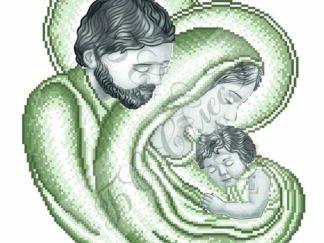 Канва для вишивання бісером на релігійну тематику - Святе Сімейство (сепія)