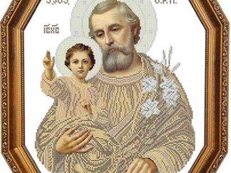 Канва для вишивання бісером на релігійну тематику - Святий Йосиф з Ісусом (сепія)