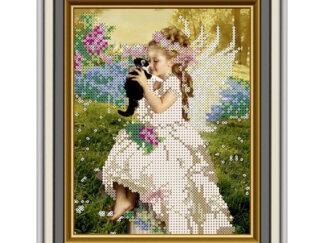 Схема на атласі для вишивки бісером - Дівчинка-ангелочок. СД-228