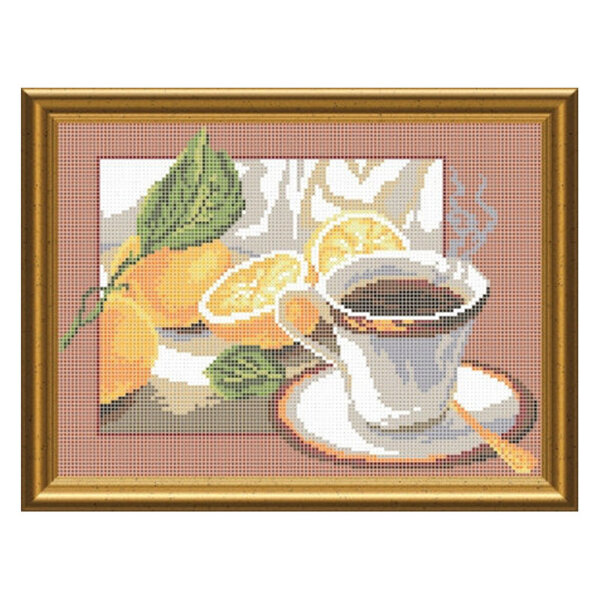 Схема на атласі для вишивки бісером - Чай з лимоном. СКМ-41