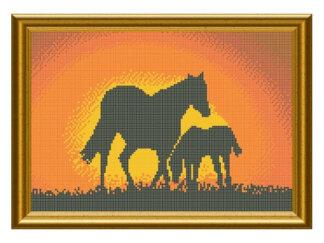 Схема на атласі для вишивки бісером - Коні на закаті. Арт. СКМ-72