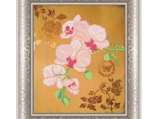 Схема на атласі для вишивки бісером - Рожеві орхідеї. СКМ-99