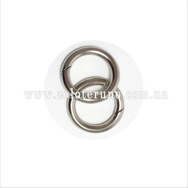 Кільце-карабін металеве, колір срібло, 28 мм