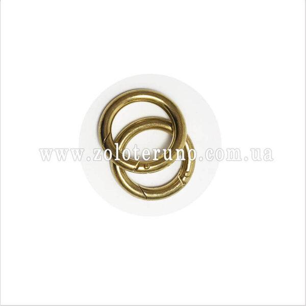 Кільце-карабін металеве, колір золото, 28 мм
