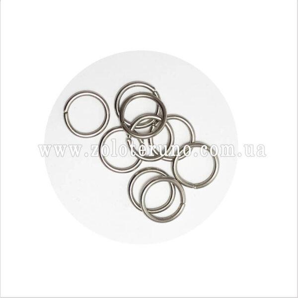Кільце металеве, колір нікель, 14 мм