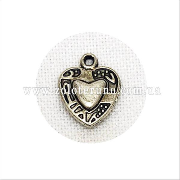 Металевий кулон серце різблене