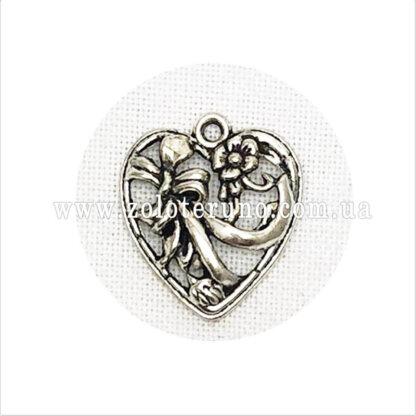 Кулон-Серце з бантом срібне