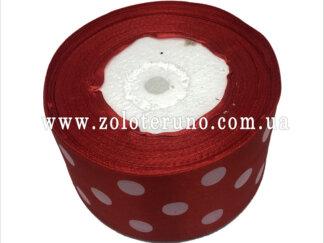 Стрічка атласна 50 мм червона в горошок