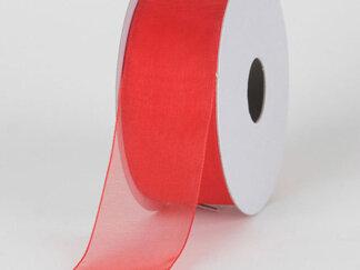 Стрічка органза 50 мм. Колір червоний