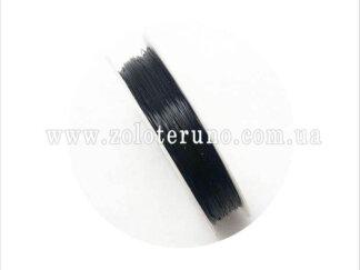 Силіконова (еластична) нитка, 0.8 мм, колір чорний