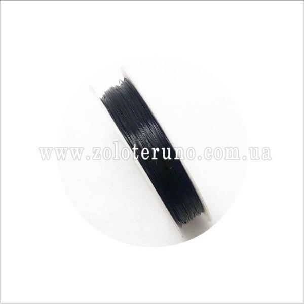 Силіконова еластична нитка, 0.8 мм, колір чорний