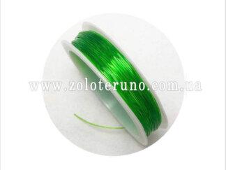 Силіконова (еластична) нитка, 0.8 мм, колір зелений