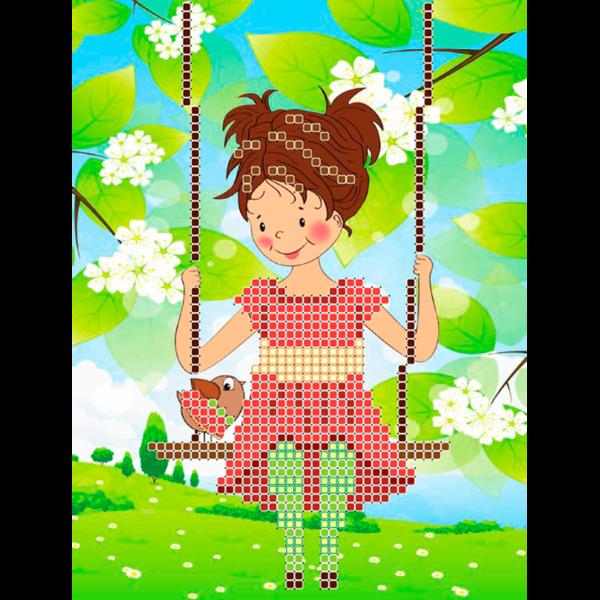 Набір для вишивки бісером L-104 Дівчинка на качелі