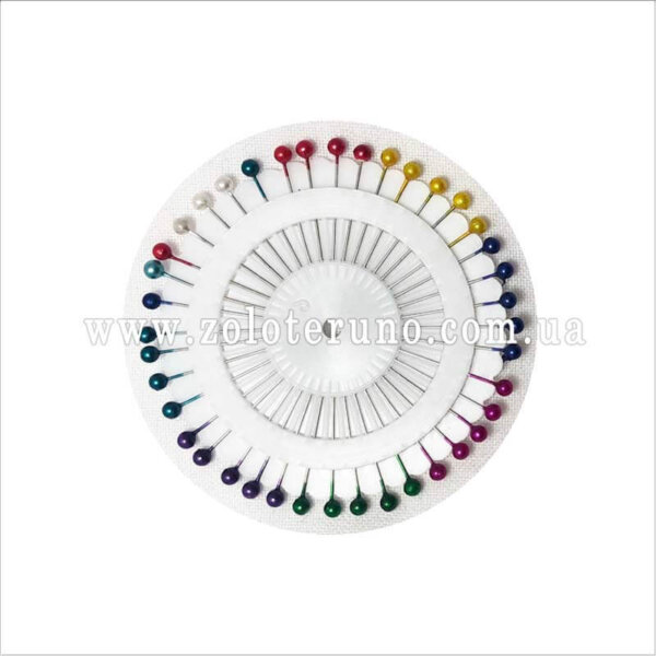 Булавки для шитья з пластмасовой круглой головкою, 40 шт, 45 мм