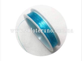 Силіконова (еластична) нитка, 0.8 мм, колір блакитний