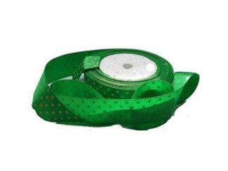 Атласні стрічки в горошок 25мм, колір зелений