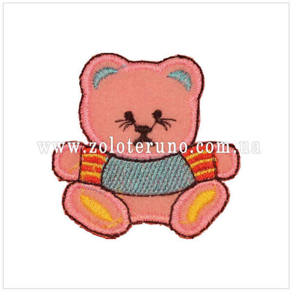 Нашивка на одяг(аплікація) Ведмедик рожевий