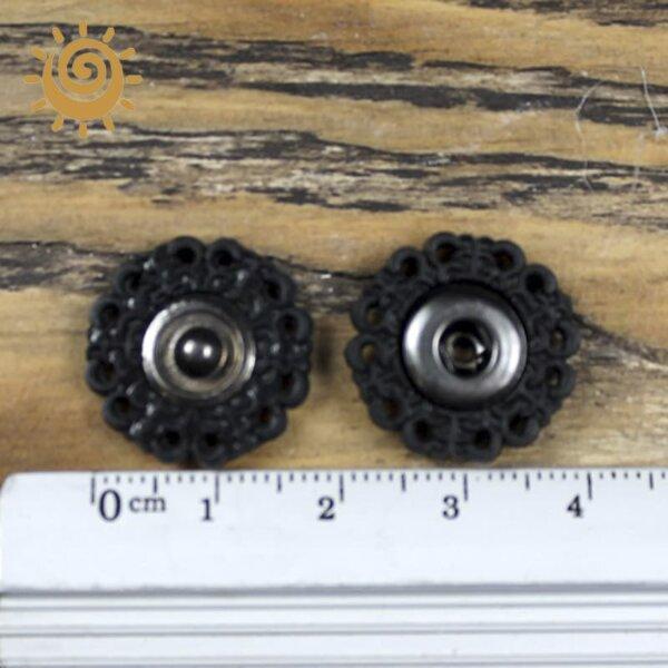 Пришивна кнопка ажурна кругла, 19 мм, колір чорний 1 16981 2
