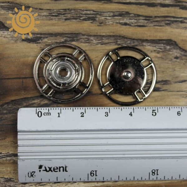 Пришивна кнопка кругла, 25мм, колір нікель 3