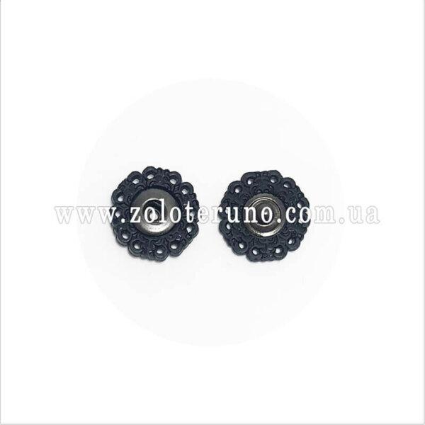 Пришивні кнопки круглі, Ажурні, 19 мм, чорна