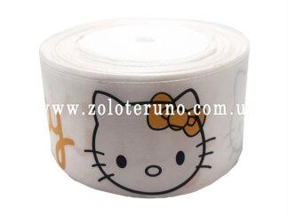"""Астласна стрічка, """"Hello kitty"""" колір білий, 50мм"""