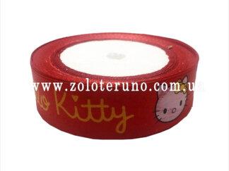 """Астласна стрічка, """"Hello kitty"""" колір червоний, 25мм"""
