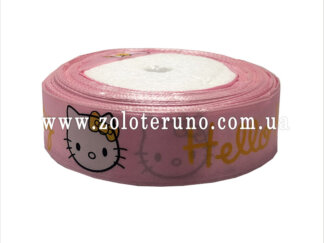 """Астласна стрічка, """"Hello kitty"""" колір рожевий, 25мм"""