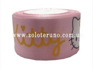 """Астласна стрічка, """"Hello kitty"""" колір рожевий, 50мм"""