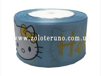 """Астласна стрічка, """"Hello kitty"""" колір блакитний, 50мм"""