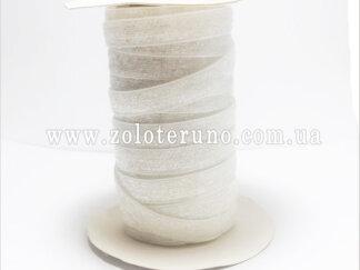 Бархатна стрічка, колір білий з глітером, 10 мм