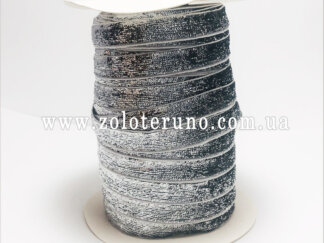 Бархатна стрічка, колір сірий з глітером, 10 мм