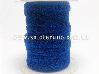 Бархатна стрічка, колір синій з глітером, 10 мм
