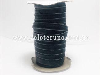 Бархатна стрічка, колір темно-зелений, 10 мм