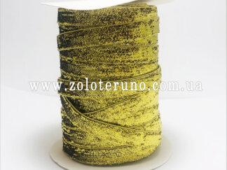 Бархатна стрічка, колір золотий з глітером, 10 мм