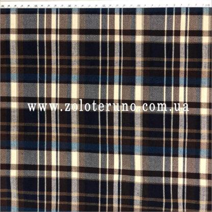 Костюмна тканина, колір клітка синя, ширина 150 см