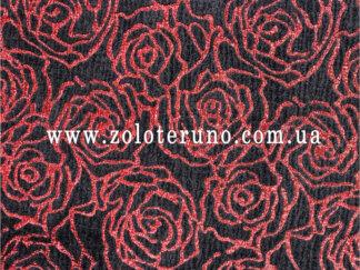 Костюмна тканина, колір чорний з трояндами, ширина 150 см