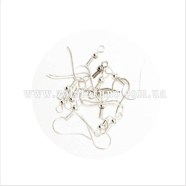Швензы для сережек, 20 мм, колір срібний