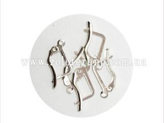 Ювелірні швензи для сережок у формі підкови. Колір срібний.