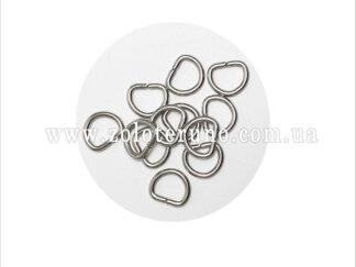 Півкільце металеве, колір нікель, 10 мм