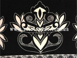 Трикотаж, колір чорний з квіткою, ширина 150 см
