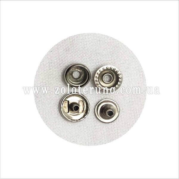 Кнопки металеві, кнопки заклепки 10 мм, колір нікель