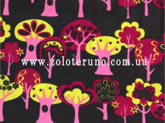 Трикотаж, колір чорний з деревами, ширина 150 см