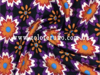 Трикотаж, колір фіолетовий з квітами, ширина 150 см