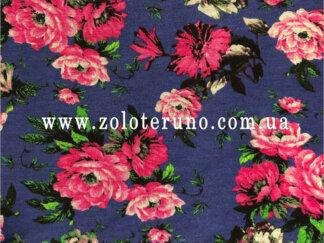 Трикотаж, колір синій з квітами, ширина 150 см